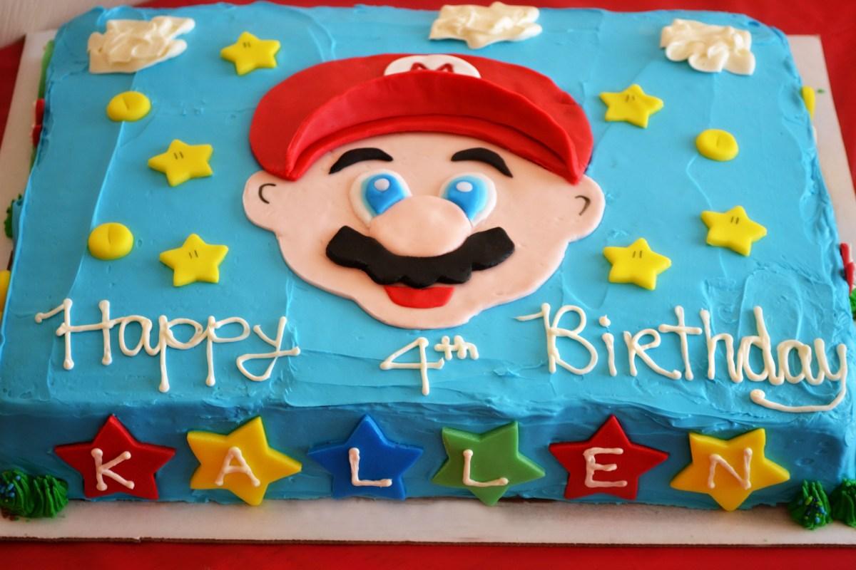 Admirable Mario Bros Birthday Cake Super Mario Brothers Party Happy Birthday Personalised Birthday Cards Veneteletsinfo