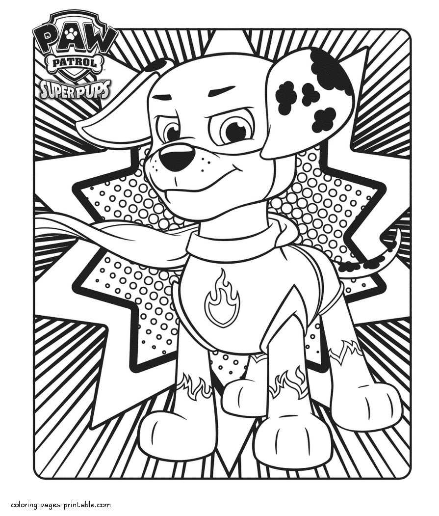 graphic relating to Printable Paw Patrol Coloring Pages titled Marshall Paw Patrol Coloring Website page Simplest Of Kimmidoll Junior