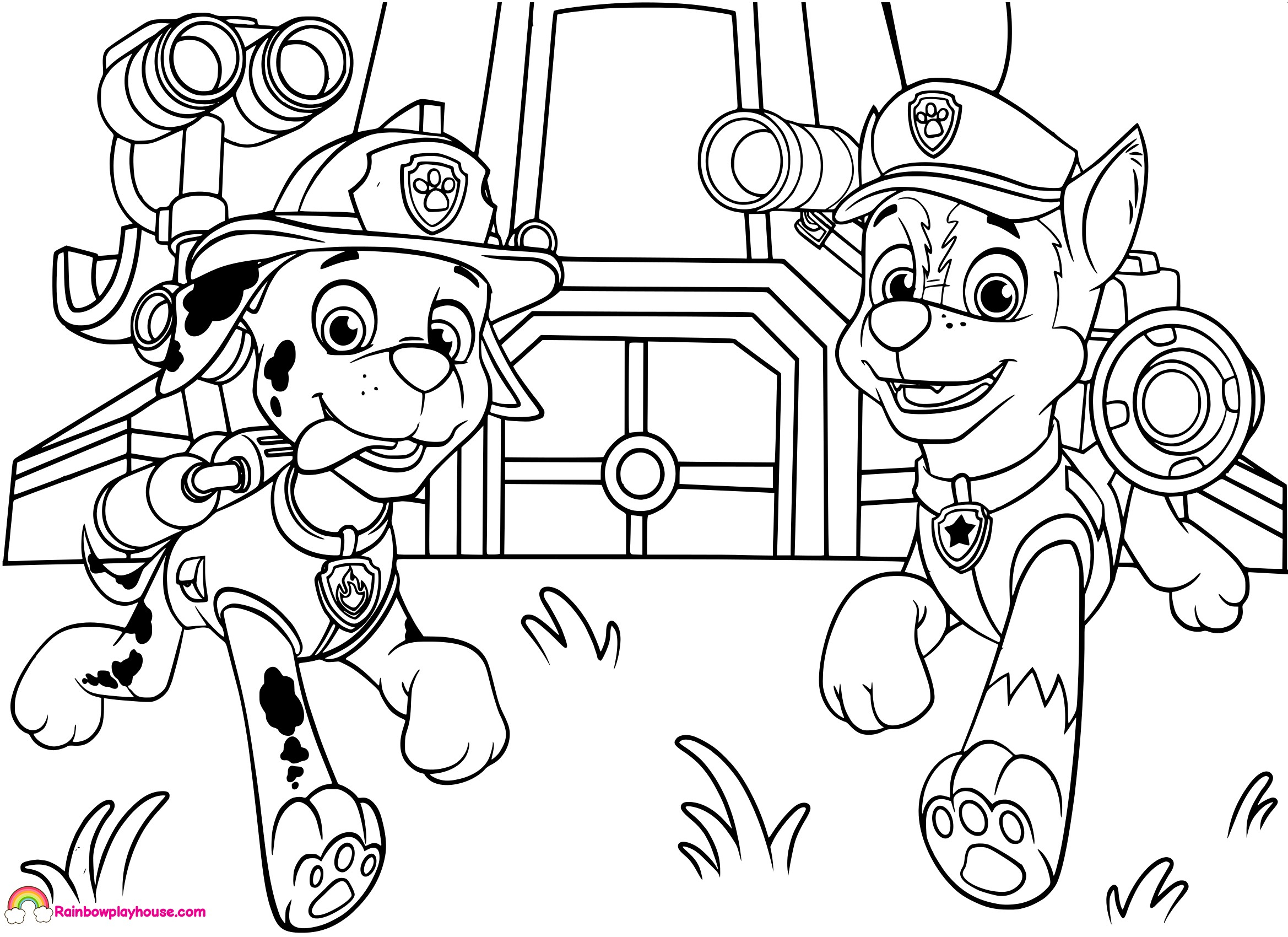 Marshall Paw Patrol Coloring Page Chase From Paw Patrol ...