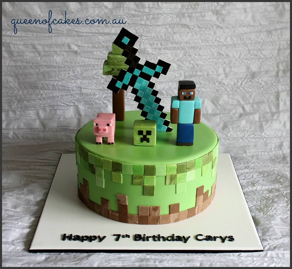 Groovy Minecraft Birthday Cakes Awesome Minecraft Birthday Cake Topped Personalised Birthday Cards Paralily Jamesorg