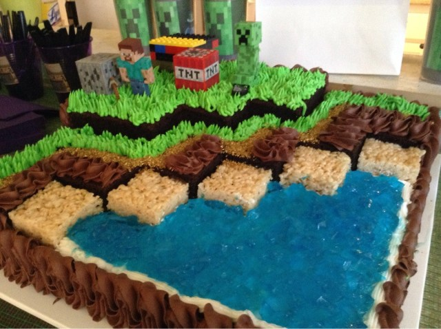 Minecraft Birthday Cakes I Went To A Little Girls Minecraft Birthday Party Here Is Her Cake