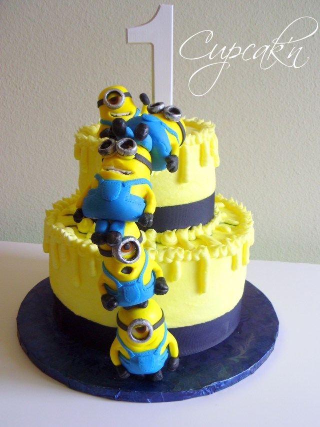 Minion Birthday Cake Images Birthday Cakes Despicable Me Cake With Stacked Mmf Minions