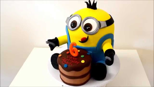Minion Birthday Cake Images New Minion Birthday Cake With Small Cake In Front Youtube