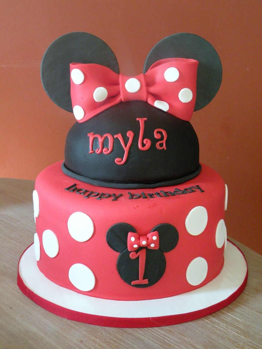 Superb Minnie Mouse Birthday Cakes Minnie 1St Birthday Cake And Cupcakes Funny Birthday Cards Online Unhofree Goldxyz