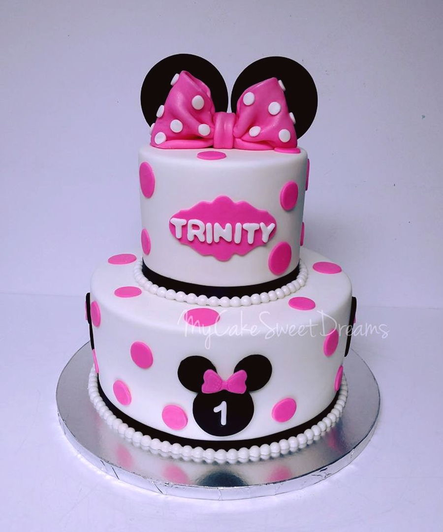 Awesome Minnie Mouse Birthday Cakes Minnie Mouse 1St Birthday Cake Personalised Birthday Cards Veneteletsinfo