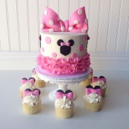 Minnie Mouse Birthday Cakes Minnie Mouse Cake And Cupcakes Cake Designs For Girls Pinterest