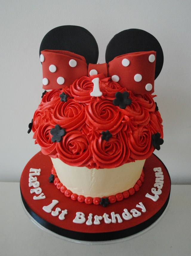 Minnie Mouse Birthday Cakes Miss Cupcakes Blog Archive Red Minnie Mouse Giant Cupcake Cake