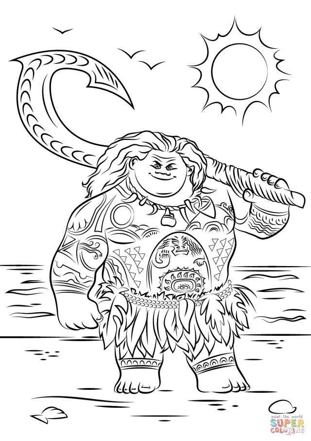 Moana Printable Coloring Pages Maui From Moana Coloring Page Free Printable Coloring Pages