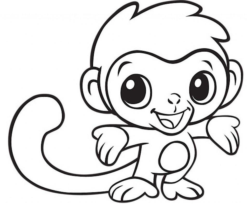 Cartoon monkey coloring book. Funny monkey kids learning game ... | 845x1024