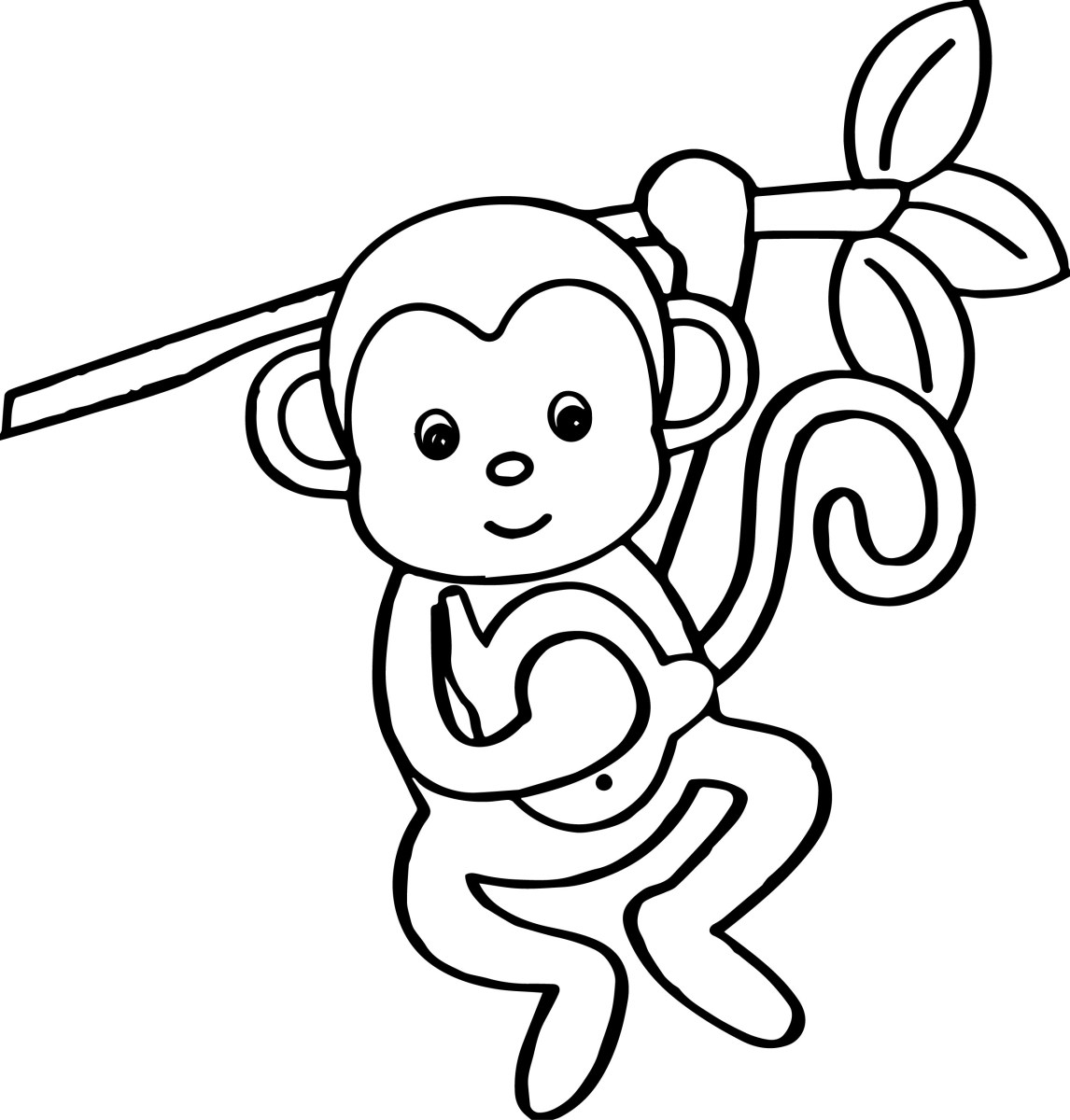Monkey Coloring Pages Cartoon Animals Kids Monkey Coloring ...