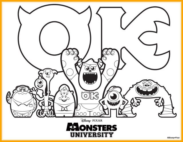 Monster Inc Coloring Pages Monsters University 00 On Monster Inc Coloring Pages Coloring