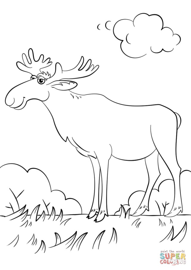 Moose Coloring Pages Cartoon Moose Coloring Page Free Printable Coloring Pages