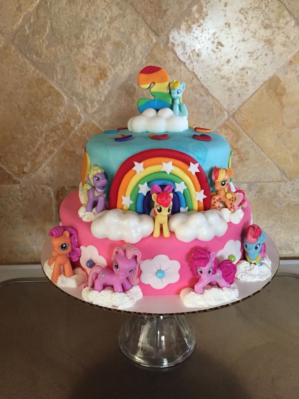 Super My Little Pony Birthday Cake Preciosa Tarta Para Fiesta Infantil Personalised Birthday Cards Beptaeletsinfo