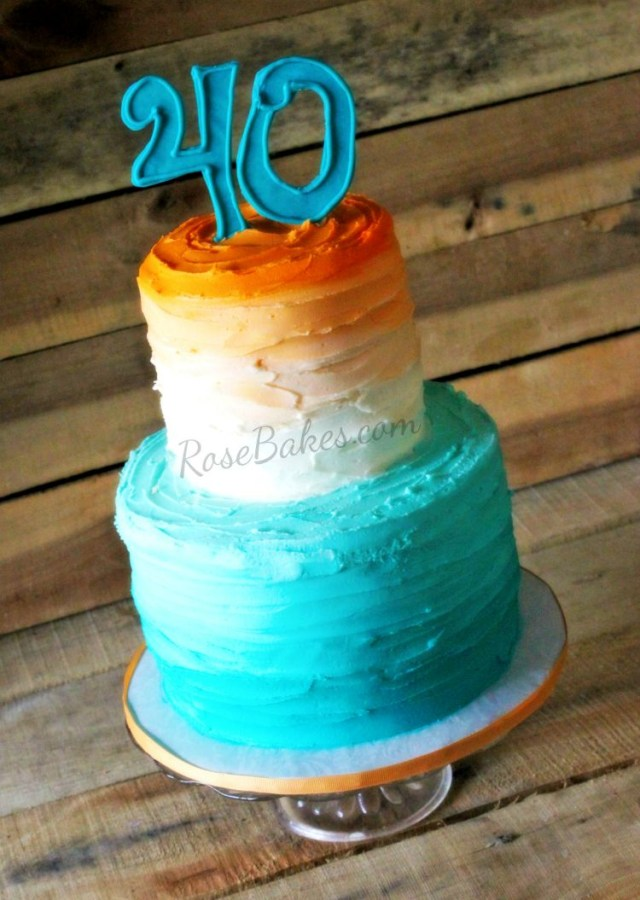 Orange Birthday Cake Orange And Teal Ombre 40th Birthday Cake Rose Bakes