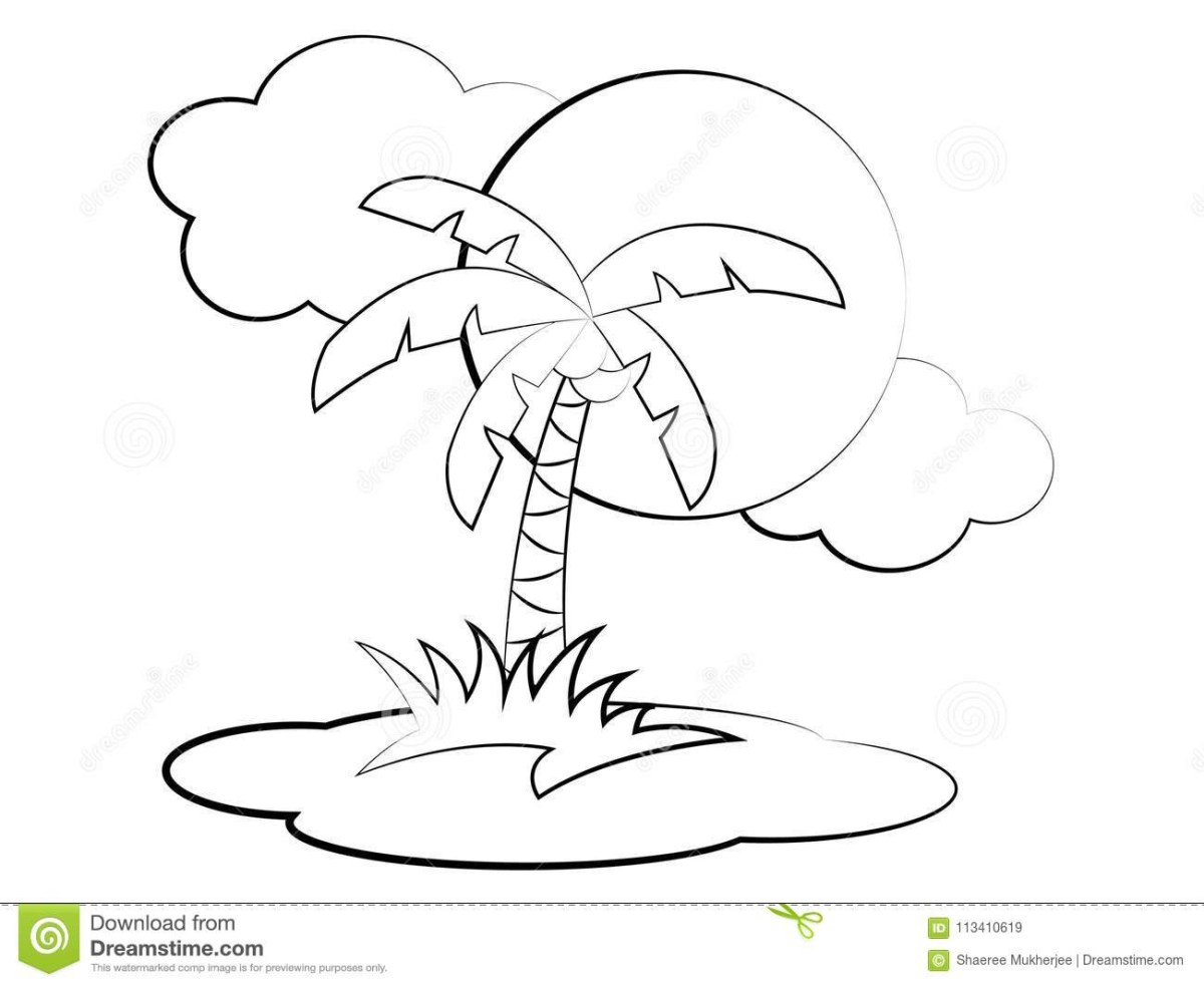 Palm Tree Coloring Pages Coconut Tree Coloring Page Stock ...