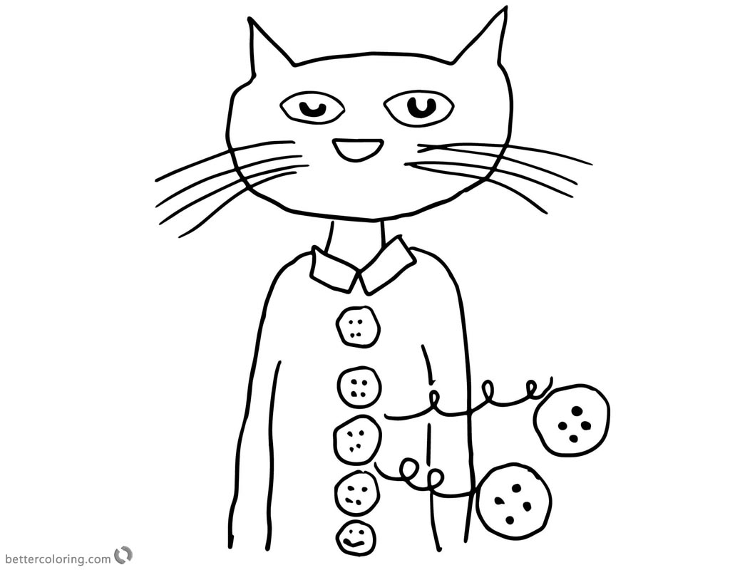 Pete The Cat Coloring Page Pete The Cat Coloring Pages Groovy Buttons Free Printable Coloring Birijus Com