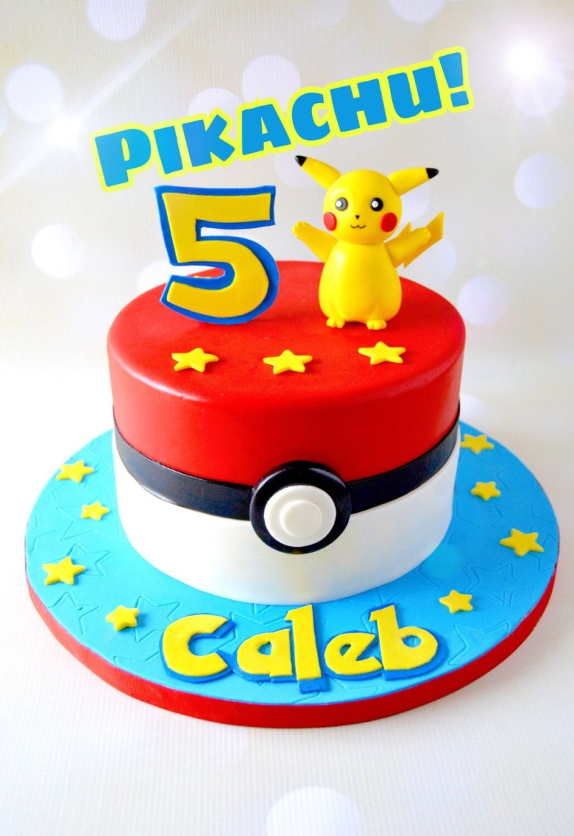 Brilliant Pokemon Birthday Cakes Pikachu Cake Topper Pokmon Cake Topper Personalised Birthday Cards Bromeletsinfo