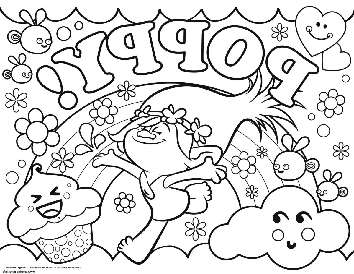 Poppy Coloring Page Outstanding Trolls Ba Poppy Coloring