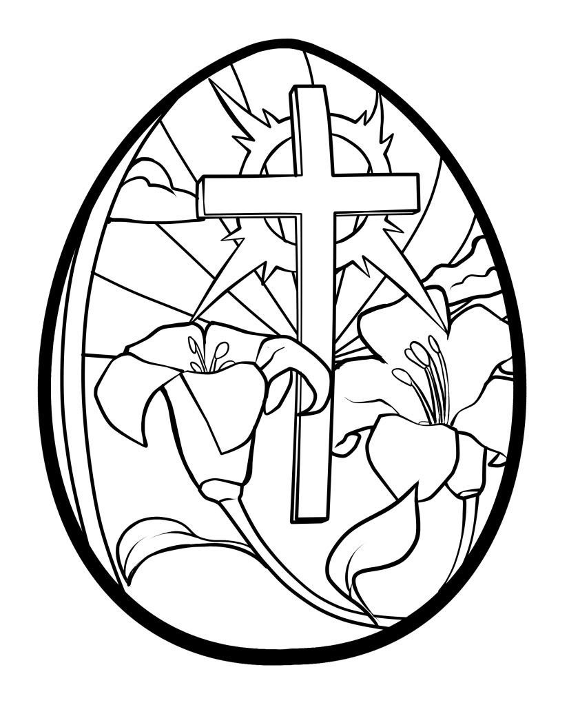 Printable Easter Coloring Pages Easter Egg Coloring Pages Printable Lilies And Cross Easter Egg