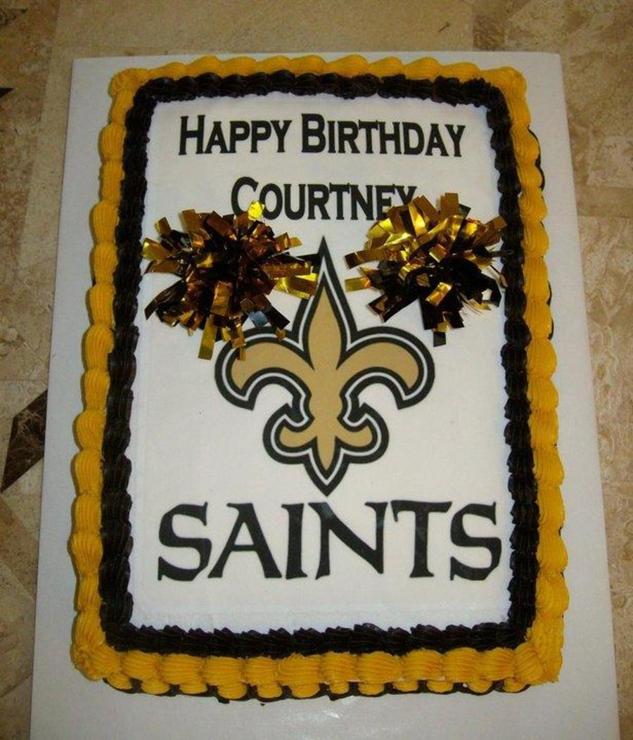 Peachy Saints Birthday Cake New Orleans Saints Cheerleader Cake Funny Birthday Cards Online Fluifree Goldxyz
