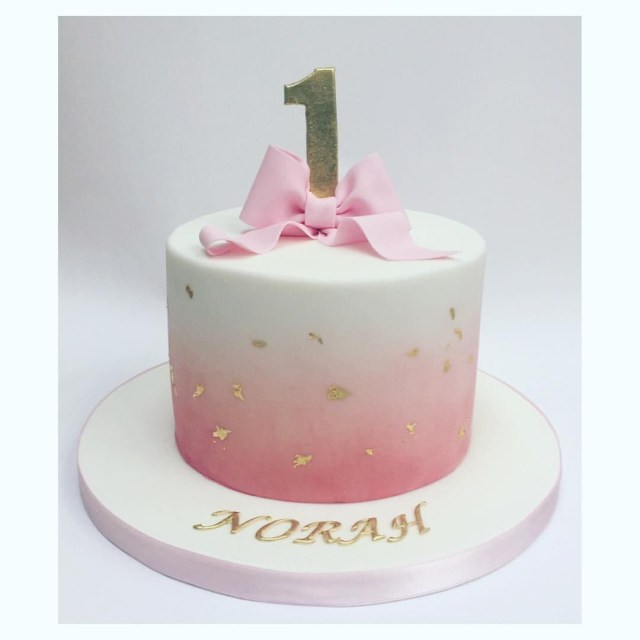Simple Birthday Cakes Simple And Beautiful Pink Fading Into White Coloured Icing With Bow