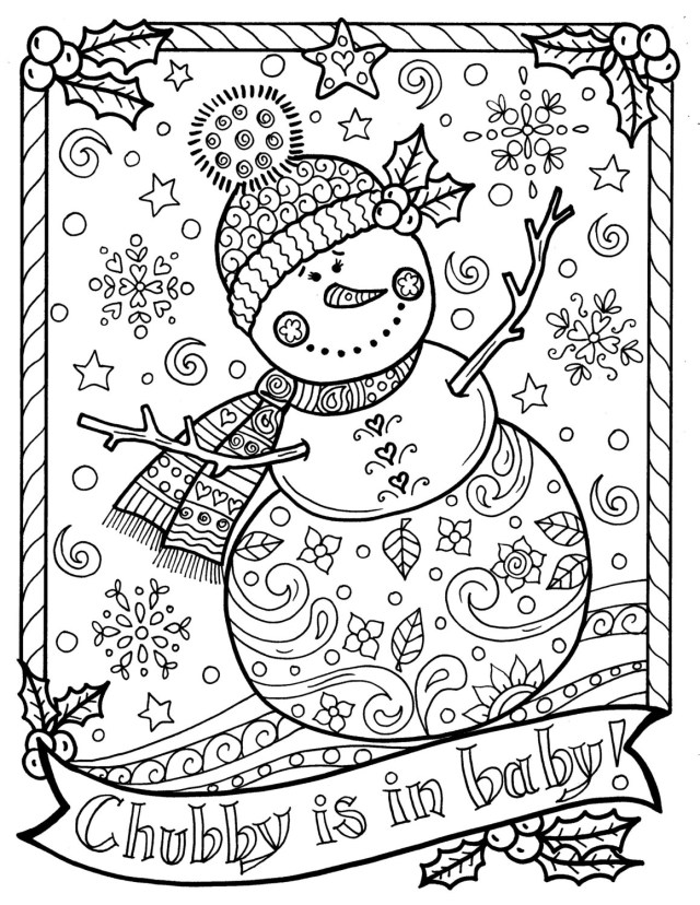 Snowman Coloring Pages Snowman Coloring Page Chub Christmas Adult Color Holidays Etsy