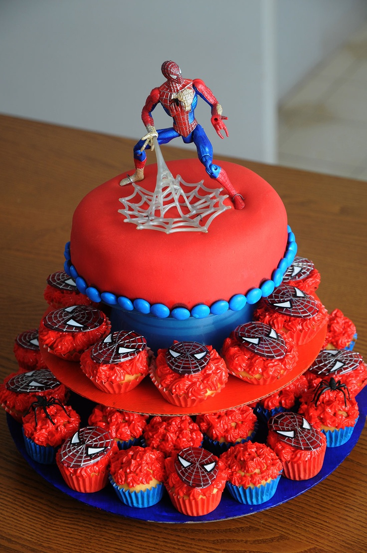 Spiderman Birthday Cakes 12 Cakes With Cupcakes For Mans Photo Spider Man Cupcake Birthday