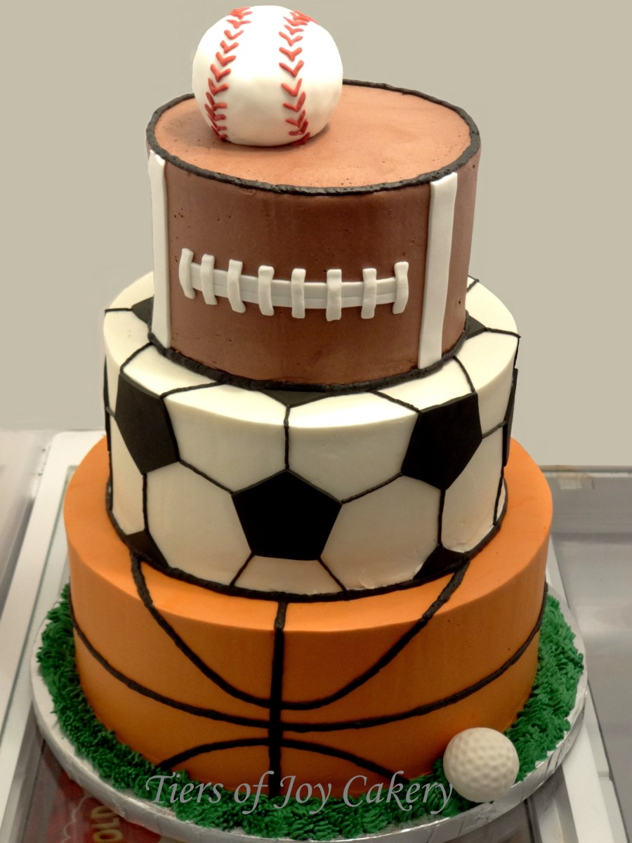 Pleasant Sports Birthday Cake Sports Balls Cake With Baseball Football Funny Birthday Cards Online Fluifree Goldxyz