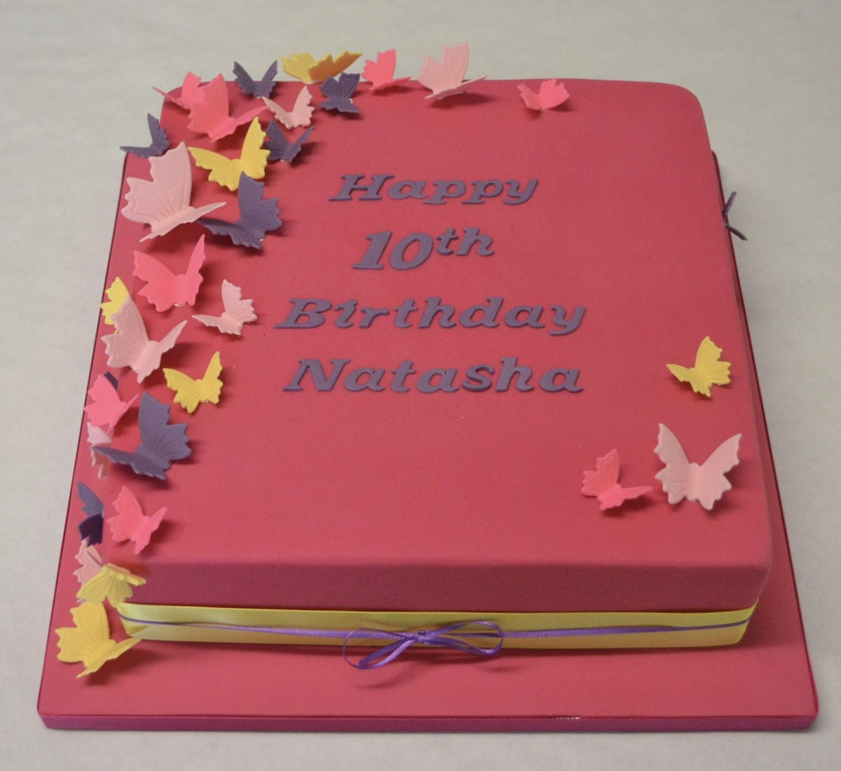 Admirable Square Birthday Cakes 10 Square Bright Coloured Butterfly Cake Funny Birthday Cards Online Overcheapnameinfo