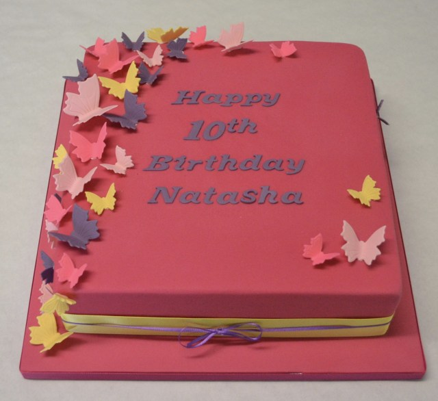 Square Birthday Cakes 10 Square Bright Coloured Butterfly Cake Childrens Birthday