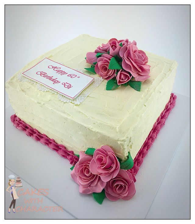 Square Birthday Cakes 60th Birthday Square Buttercream Cake With Pink Fondant Roses Cake