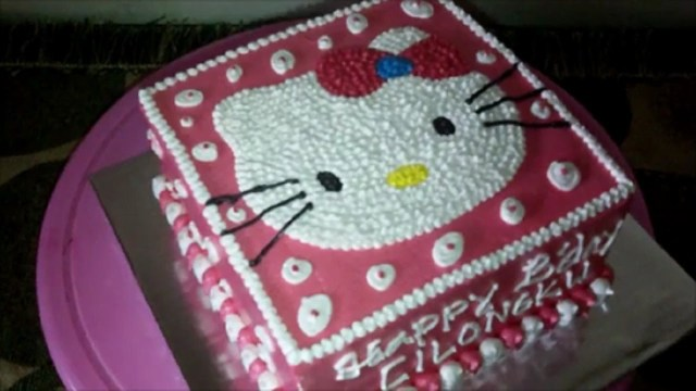 Square Birthday Cakes How To Easy Decorate Hello Kitty Head Square Make Birthday Cake