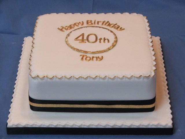 Square Birthday Cakes Simple Square Birthday Cake In Black And Gold Mom 60th Pinterest