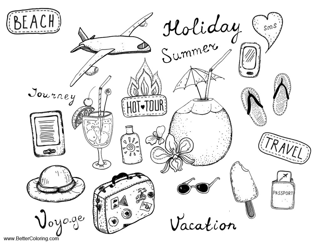 Summer Fun Coloring Pages Summer Fun Coloring Pages Travel ...