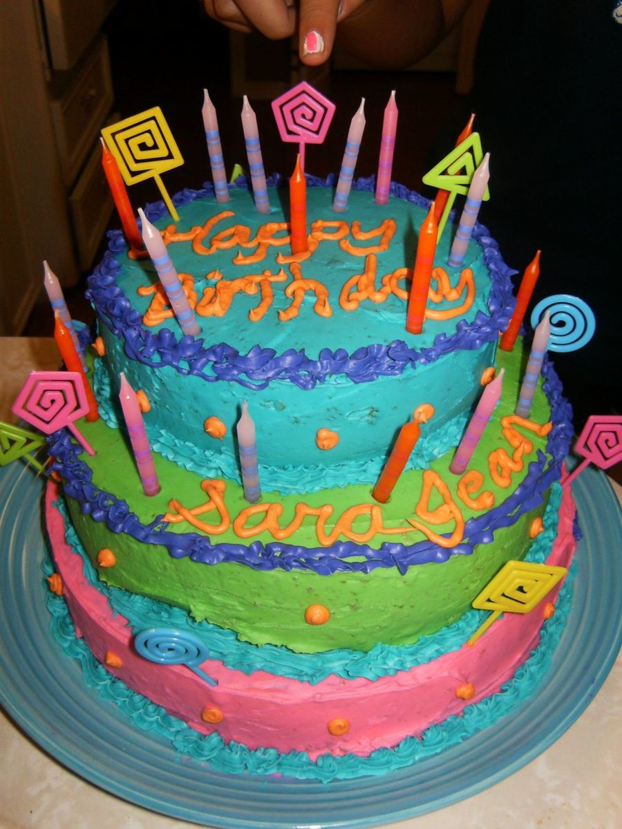 Teenage Birthday Cakes Colorful Girls Cake Cakecentral