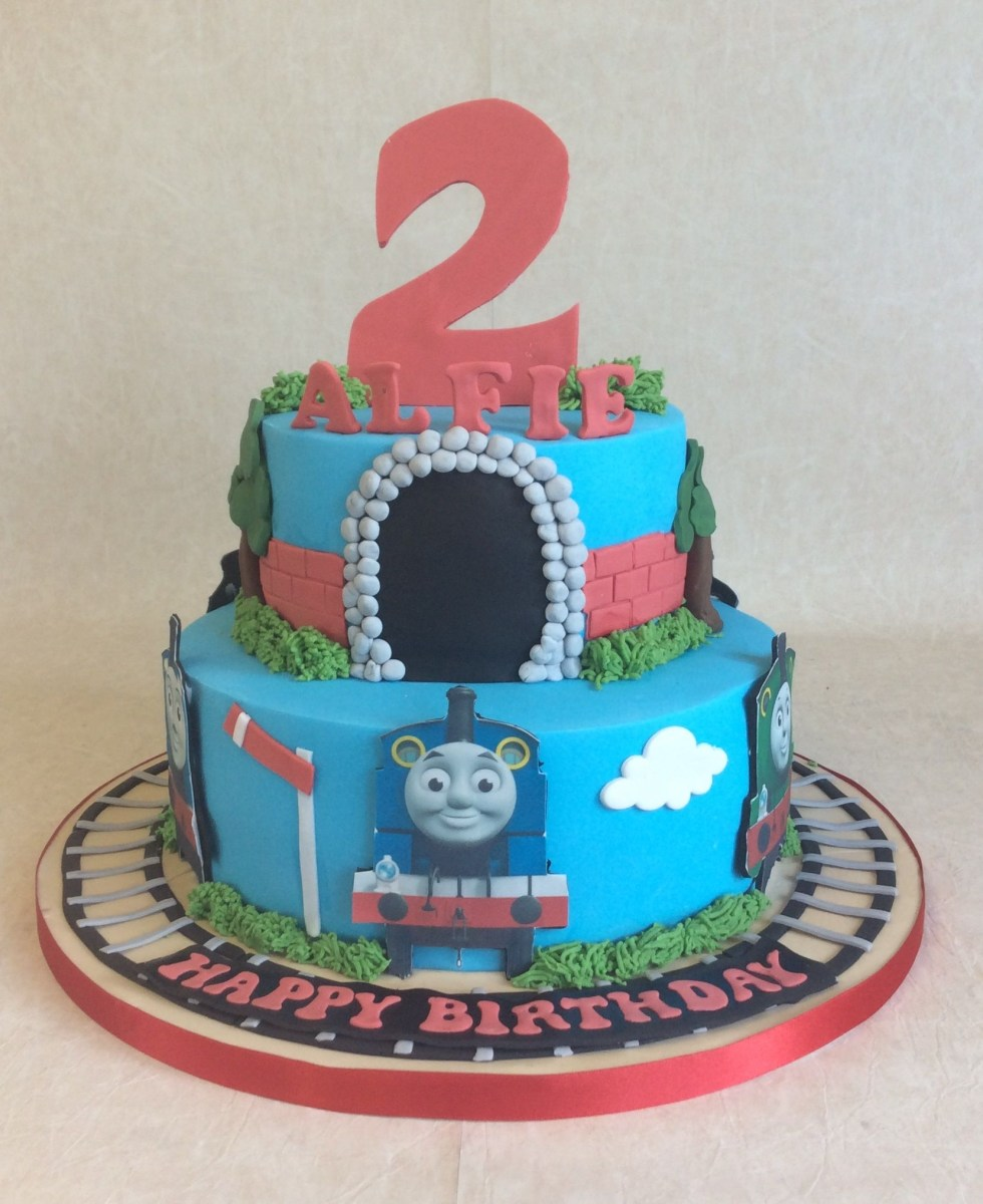 Marvelous Thomas And Friends Birthday Cake 2 Tier Thomas Friends Birthday Funny Birthday Cards Online Fluifree Goldxyz