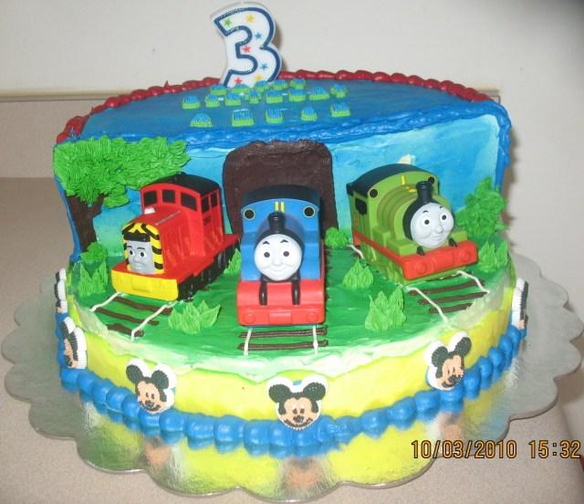 Thomas The Train Birthday Cake Thomas Train Stage Cake Anushs 3rd Birthday Cake
