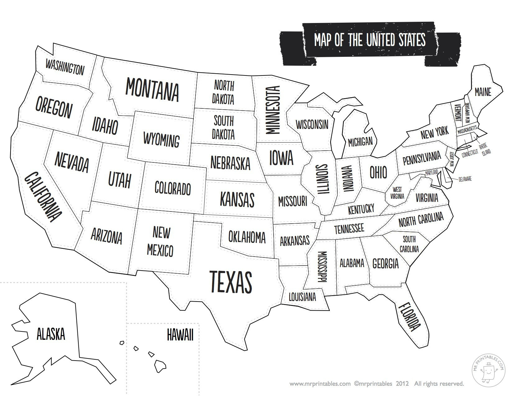 - Us Map Coloring Page Black And White Us Map With States Valid