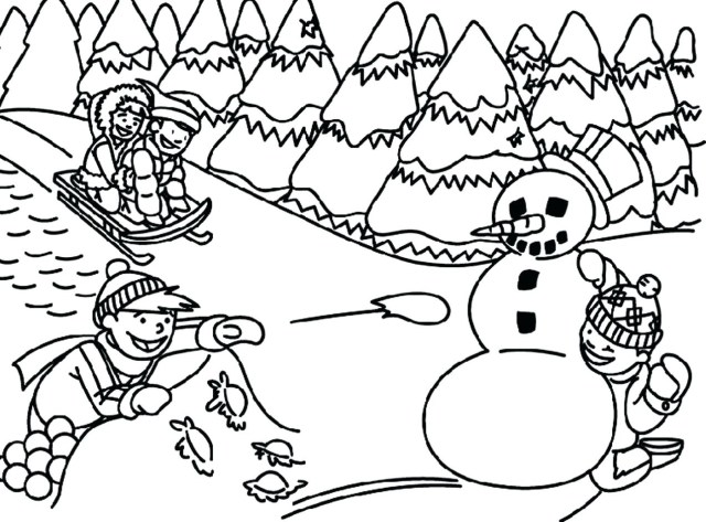creative photo of winter coloring pages