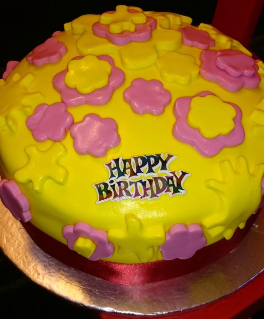 Astonishing Yellow Birthday Cake Alices Cake Emporium Pink And Yellow Birthday Funny Birthday Cards Online Ioscodamsfinfo