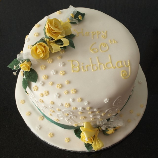 Yellow Birthday Cake Yellow And White Roses 60th Birthday Cake Cakecentral