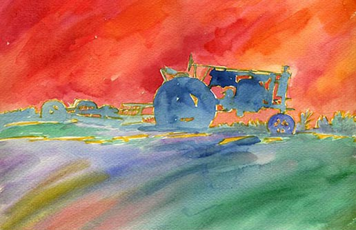 Farm Tractor - Watercolor Painting