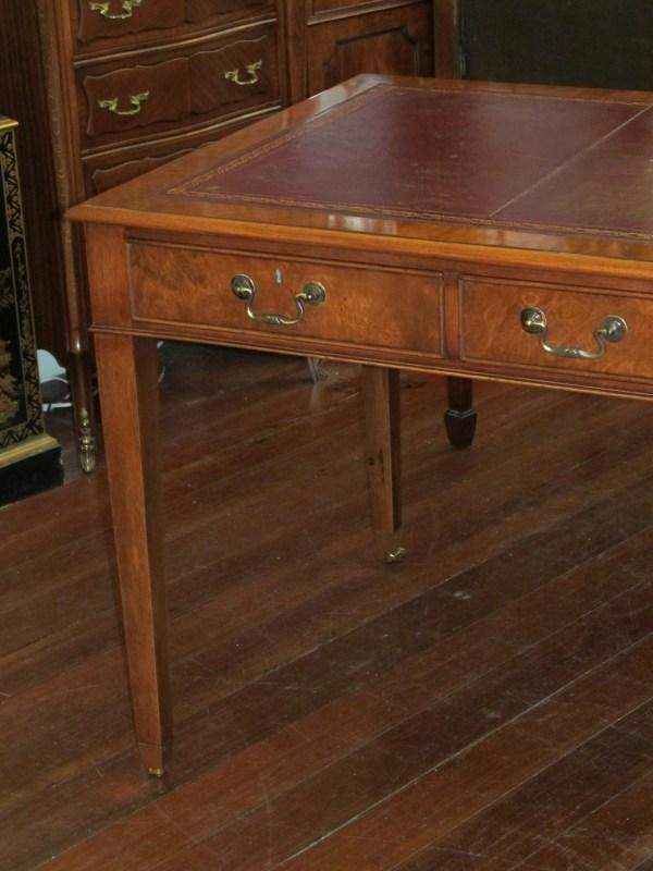 English Bench Burr Walnut Writing Table