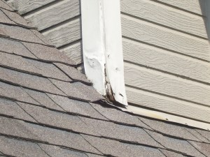 Chimney damage at roof line