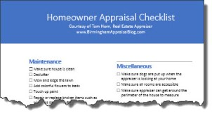 Homeowner Appraisal Checklist torn