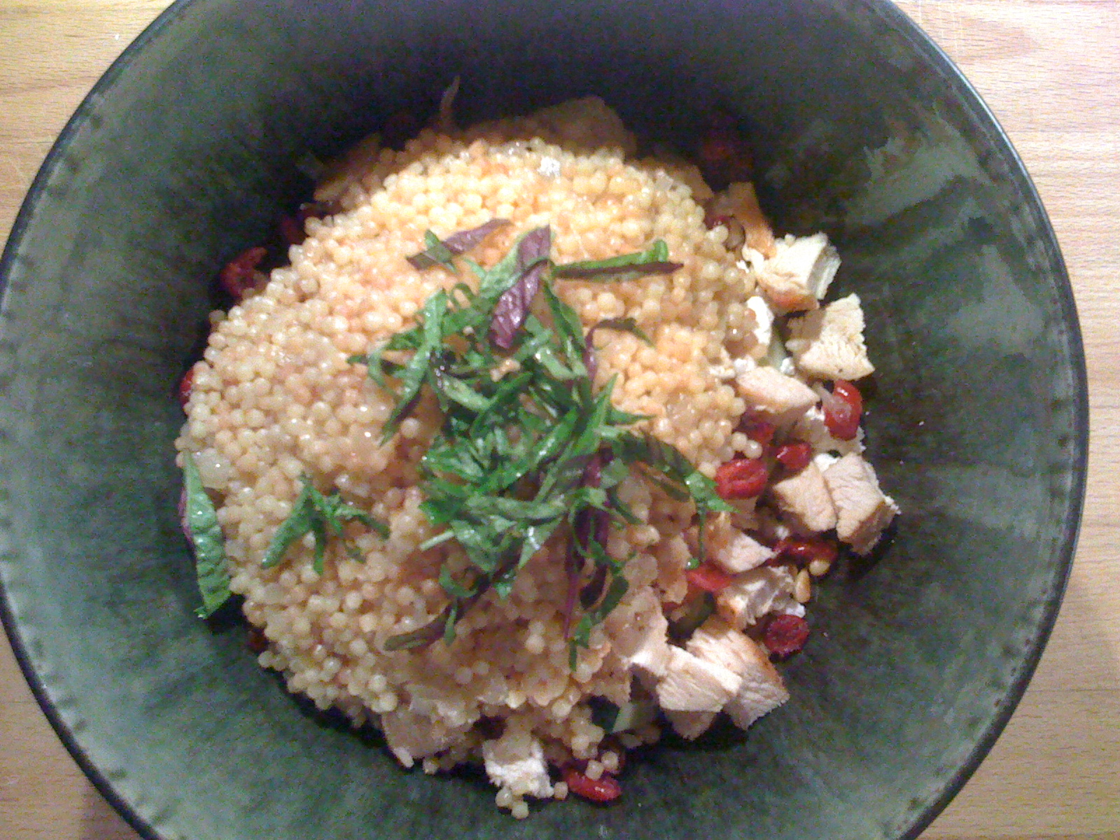 Cucumbers + Pine Nuts + Goat cheese + Chicken + Cranberries + Cous cous + Basil