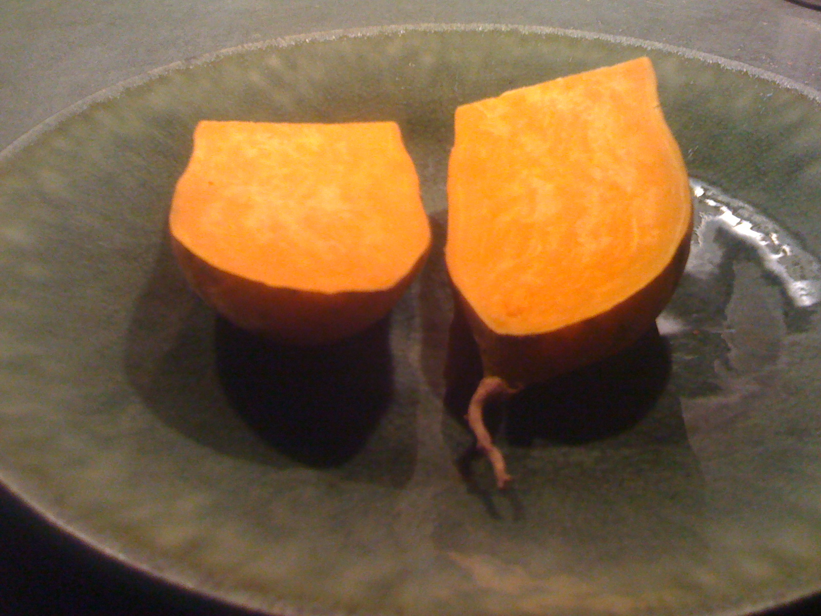 Sweet potato, split side view
