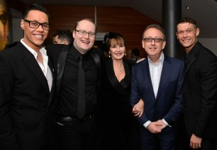 L-R: Gok Wan, Director and Producer Michael Harrison, Stephanie Beacham, Qdos Entertainment Chairman Nick Thomas, John Partridge