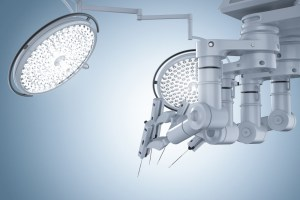 robotic surgery machine on blue background