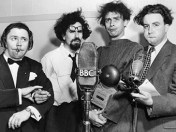 The Goons (l-r) Harry Secombe, Michael Bentine, Spike Milligan, Peter Sellers
